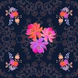 Bossen van tuinbloemen op donkere kantachtergrond Naadloos sierpatroon witn Paisley Indische, Perzische, Turkse motieven royalty-vrije illustratie