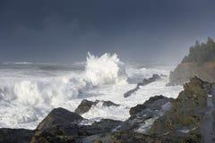 Bosses d'une décennie se brisant contre les falaises du parc d'état d'acres de rivage, baie Orégon de roucoulements photo libre de droits