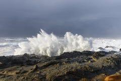 Bosses d'une décennie se brisant contre les falaises du parc d'état d'acres de rivage, baie Orégon de roucoulements photographie stock