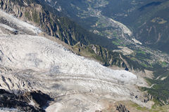 Bossons Glacier from the Aiguille du Midi Stock Photo