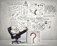 Bossy businesswoman in chair Royalty Free Stock Images