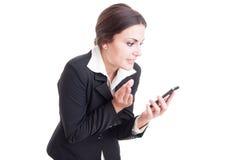 Bossy female manager explaining something over video call Stock Image