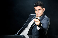 Bossy man in suit Stock Photos