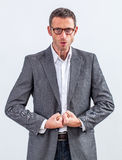 Bossy middle aged manager ready to loose his temper Royalty Free Stock Images