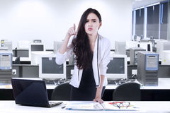 Bossy woman angry to someone Stock Photo