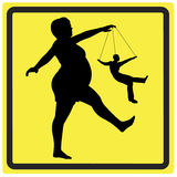 Bossy Woman. Concept sign of a dominant woman controlling her husband like a puppet or marionette Stock Images