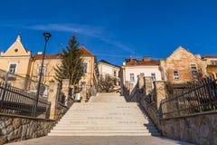 Bostads- byggnader-Uhersky Brod, Tjeckien Arkivbild