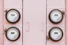 Bostads- digital samling för strömförsörjningwatthourmeter arkivbild