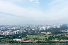 Bostads- flyg- sikt av singapore och industriområden Royaltyfri Bild