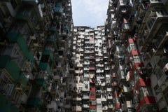 Bostads- gammal byggnad i Hong Kong Arkivbild