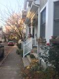 Bostads- gata nära det Princeton universitetet Arkivfoto