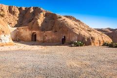 Bostads- grottor av grottmänniskan i Matmata, Tunisien, Afrika Royaltyfri Fotografi