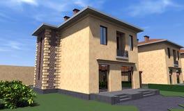 Bostads- hus 3D Arkivfoto