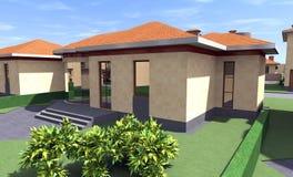 Bostads- hus 3D Arkivbild