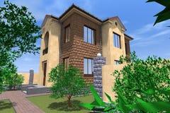 Bostads- hus 3D Royaltyfri Bild
