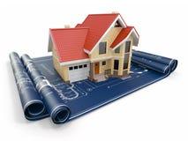 Bostads- hus på arkitektritningar. Byggprojekt. Royaltyfri Fotografi