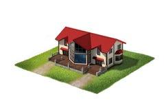 Bostads- hus på stycke av land Fotografering för Bildbyråer