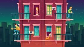 Bostads- mång--våning för vektor lägenhet, grannskap Fritid av folk royaltyfri illustrationer