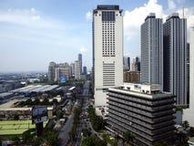 Bostads- och kommersiella byggnader i den Pasig staden, Filippinerna arkivfoton