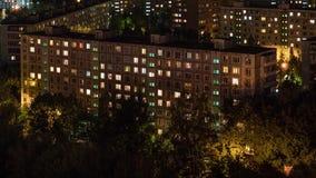 Bostads- stadsområde av Moskvastaden Timelapse lager videofilmer