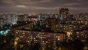 Bostads- stadsområde av Moskvastaden Timelapse arkivfilmer