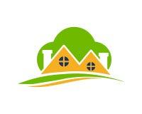 Bostads- symbol för grönt moln Arkivfoton