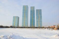 Bostads- torn i Astana/Kasakhstan Arkivfoton