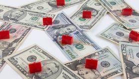 Bostadsmarknaden intecknar kostnadsbegrepp Fotografering för Bildbyråer