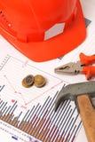 Bostadsproduktion- och renoveringdiagram fotografering för bildbyråer