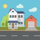 bostadssky för blått byggnadshus Arkivbild