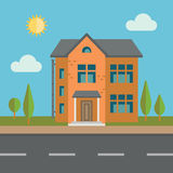bostadssky för blått byggnadshus Arkivbilder