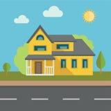 bostadssky för blått byggnadshus Arkivfoto