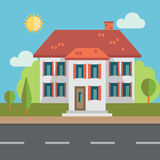 bostadssky för blått byggnadshus Fotografering för Bildbyråer