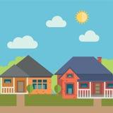 bostadssky för blått byggnadshus Arkivfoton