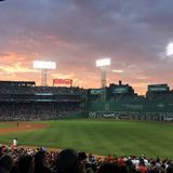 Sunset over Fenway royalty free stock photography