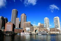 Boston. Downtown skyline along Boston Harbor Stock Photos