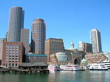 Boston. A section of Boston Harbor including Rowes Wharf royalty free stock photo