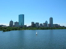 Boston. Back Bay skyline with a single sailboat, Boston Royalty Free Stock Photography