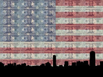 Boston with 20 dollar bill. Boston skyline with 20 dollar bill and American flag stock illustration