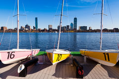 Boston. View of Boston in Massachusetts, USA by the Charles River bed Stock Photos