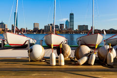 Boston. View of Boston in Massachusetts, USA by the Charles River bed on a sunny spring day Royalty Free Stock Images