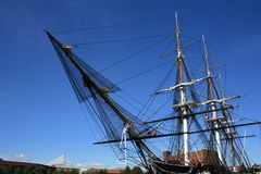 Boston. The USS Constitution (Zakim Bunker Hill Bridge in the background Royalty Free Stock Images