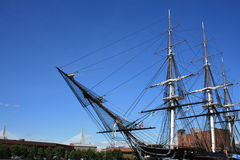 Boston. The USS Constitution (Zakim Bunker Hill Bridge in the background stock photo
