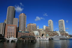 Boston. A view of Boston Harbor including Rowes Wharf Royalty Free Stock Photography