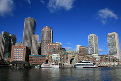 Boston. A view of Boston Harbor including Rowes Wharf Stock Photography