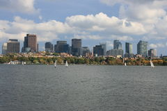 Boston. 's downtown skyline and Beacon Hill as scene from the Charles River royalty free stock photography