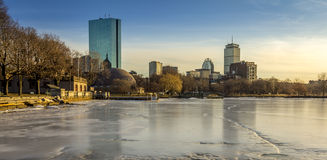 Boston. Panoramic view of Boston in Massachusetts, USA in the winter season with the Charles River frozen Royalty Free Stock Photo