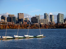 Boston. Downtown View with Boats Stock Photography