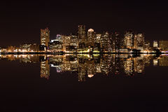 Boston. City skyline at night with reflection Royalty Free Stock Photos