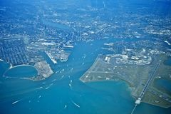 Boston from above. Aerial view from 10000ft of boston city area and airport Royalty Free Stock Images